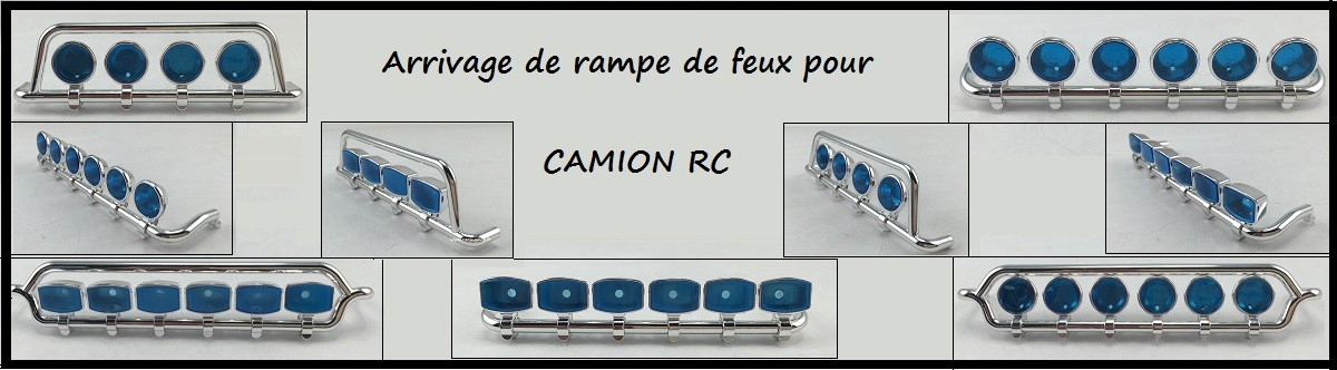 Rampes de phares (feux de toit ou rampe basse) pour les camions radiocommandés à l'échelle 1/14 Tamiya